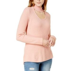 Kensie Womens Ribbed Knit Choker Pullover Sweater